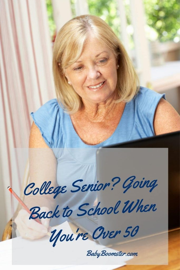Woman going back to school using online learning