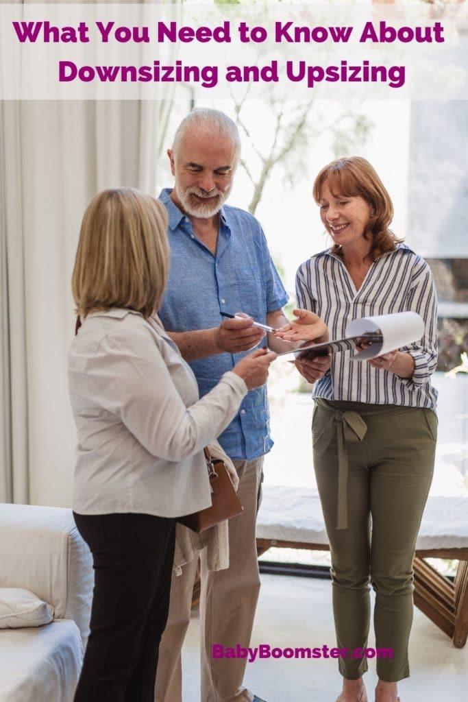 Senior couple talking to real estate agent